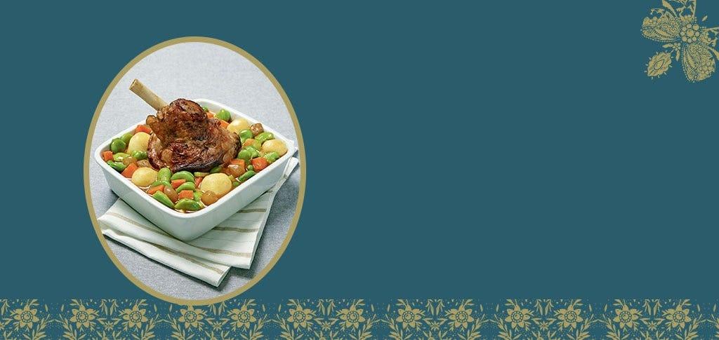 La souris d'agneau sauce printanière légumes du potager