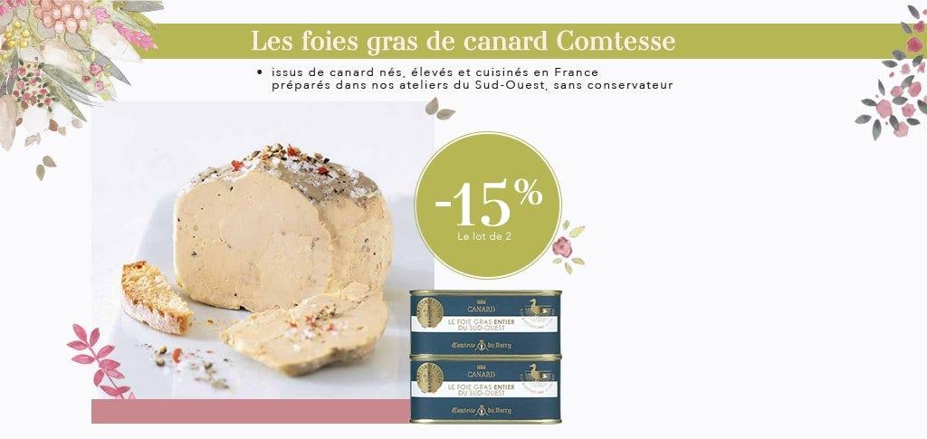 Lot de 2 foies gras de canard entier du Sud-Ouest 205 g