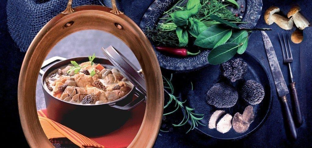 Les ris de veau braisés et poulet fermier, sauce foie gras et morilles