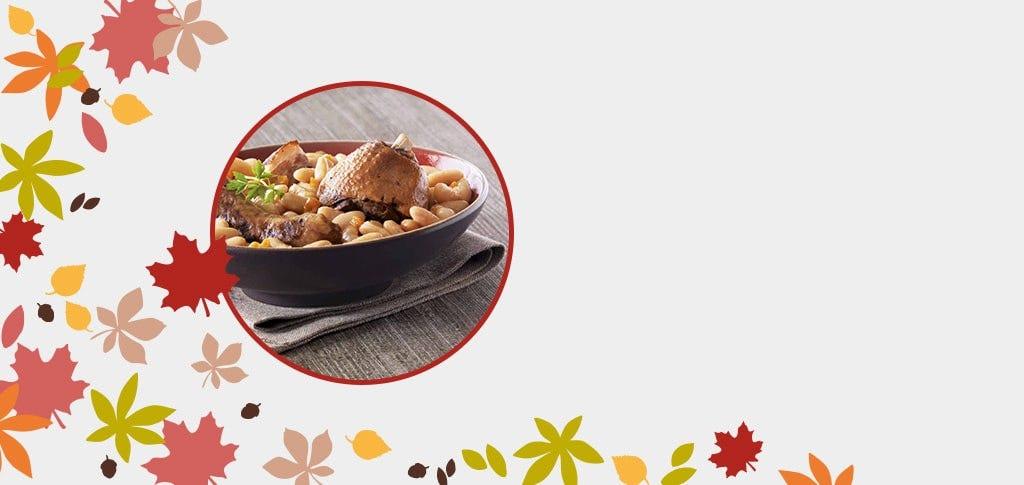 Cassoulet languedocien saucisses de Toulouse et confit de canard