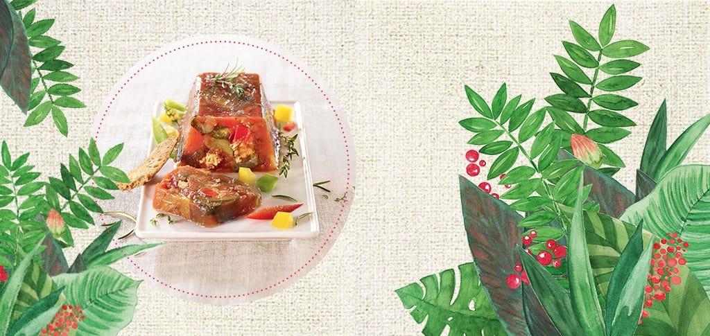 Terrine de légumes d'été tomate et volaille