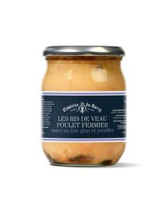 Ris de veau poulet fermier, sauce foie gras et morilles