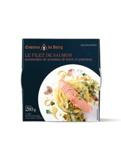 Le pavé de saumon mousseline de pommes de terre et poireaux